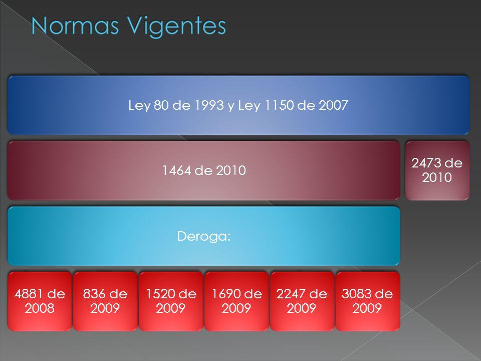 Normas Vigentes Ley 80 de 1993 y Ley 1150 de 2007 1464 de 2010 Deroga: