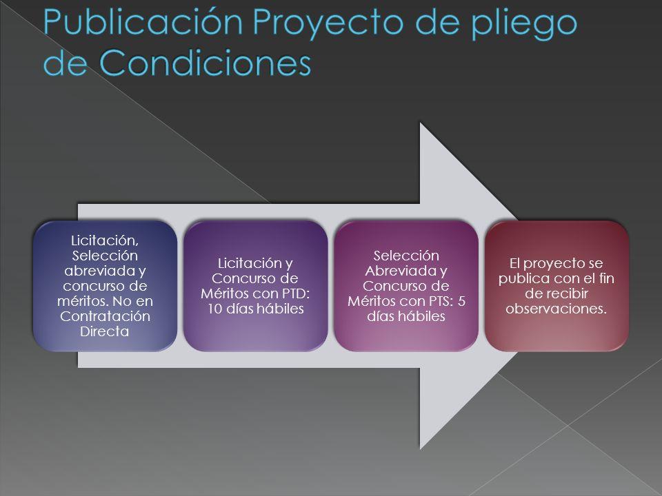 Publicación Proyecto de pliego de Condiciones