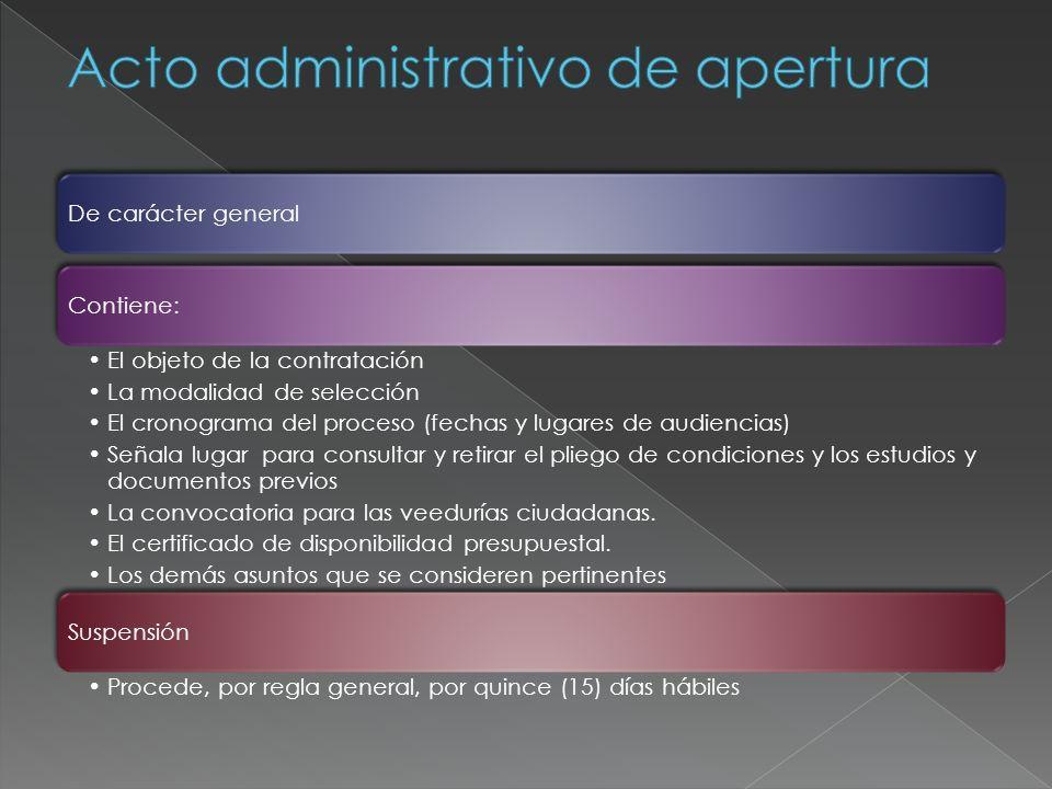 Acto administrativo de apertura