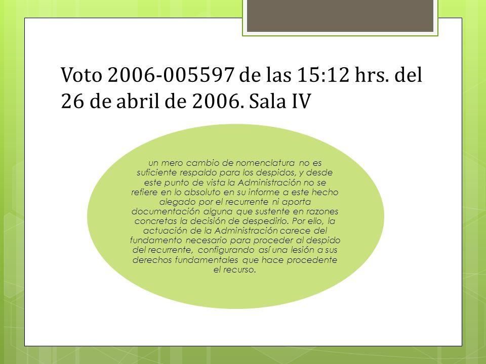 Voto 2006-005597 de las 15:12 hrs. del 26 de abril de 2006. Sala IV