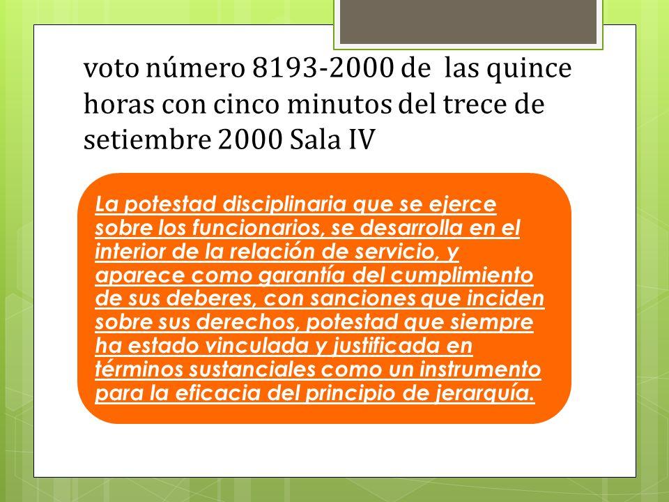 voto número 8193-2000 de las quince horas con cinco minutos del trece de setiembre 2000 Sala IV