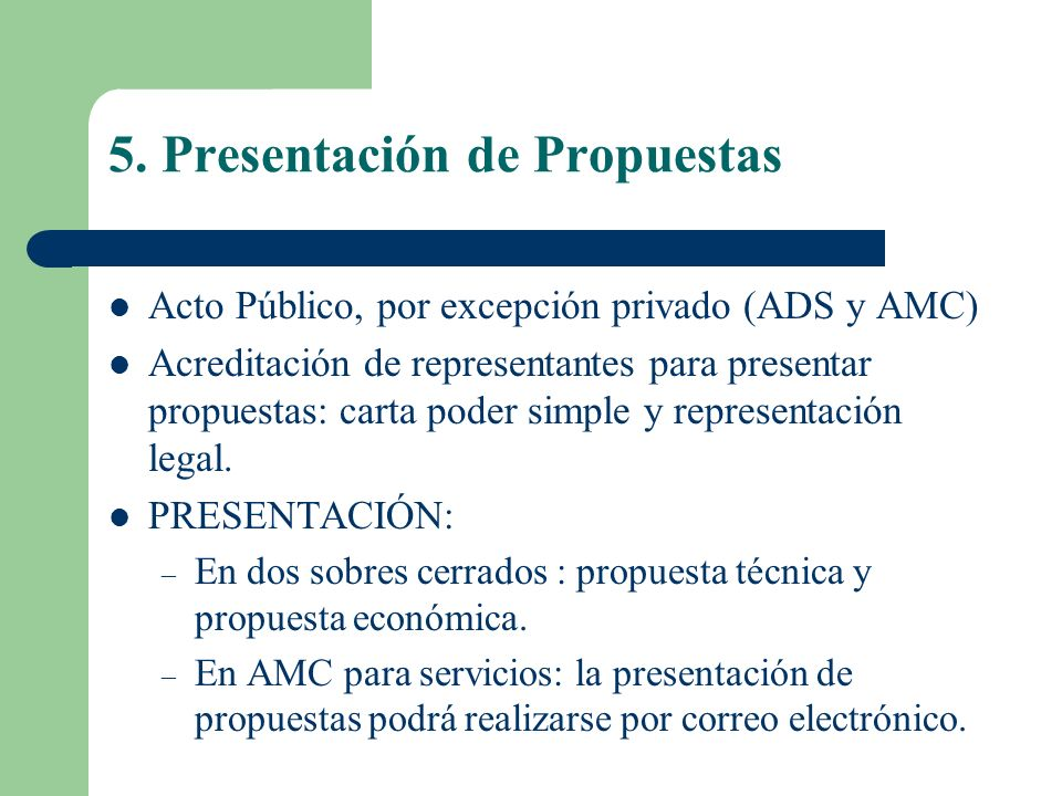 5. Presentación de Propuestas
