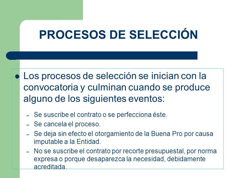PROCESOS DE SELECCIÓN Los procesos de selección se inician con la convocatoria y culminan cuando se produce alguno de los siguientes eventos: