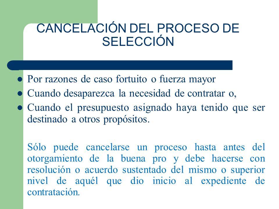 CANCELACIÓN DEL PROCESO DE SELECCIÓN