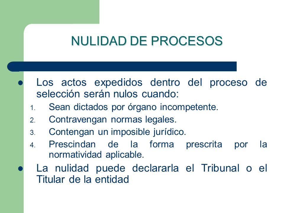 NULIDAD DE PROCESOSLos actos expedidos dentro del proceso de selección serán nulos cuando: Sean dictados por órgano incompetente.