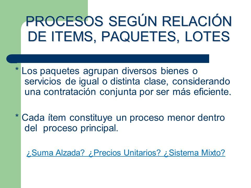 PROCESOS SEGÚN RELACIÓN DE ITEMS, PAQUETES, LOTES