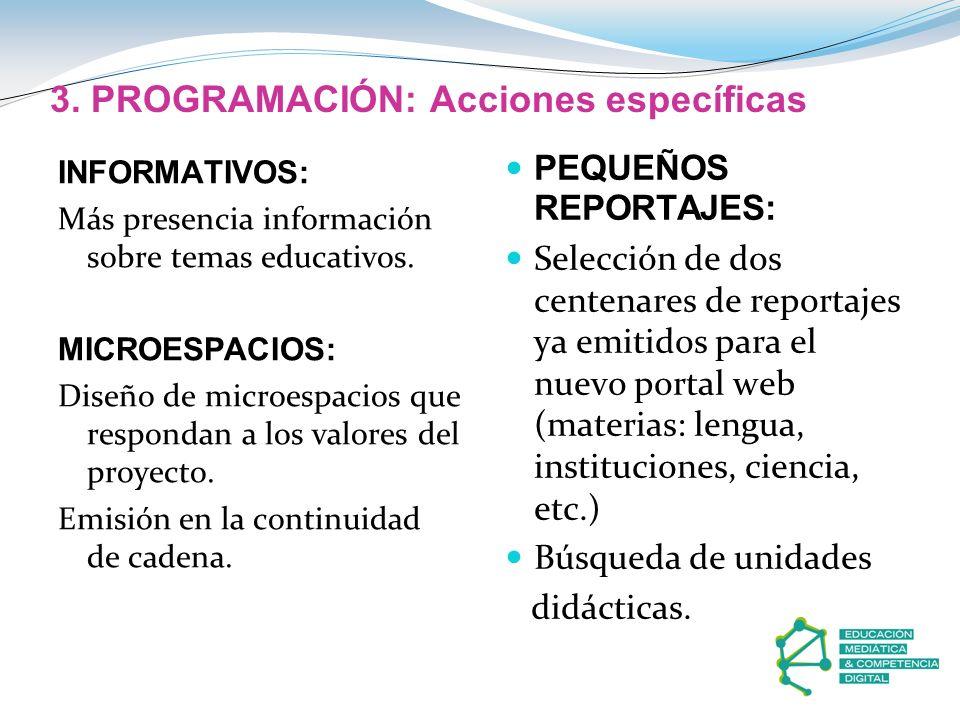 3. PROGRAMACIÓN: Acciones específicas