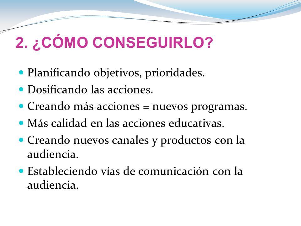 2. ¿CÓMO CONSEGUIRLO Planificando objetivos, prioridades.