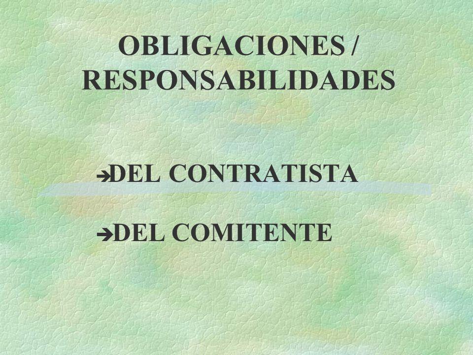 OBLIGACIONES / RESPONSABILIDADES