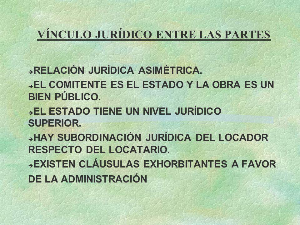 VÍNCULO JURÍDICO ENTRE LAS PARTES