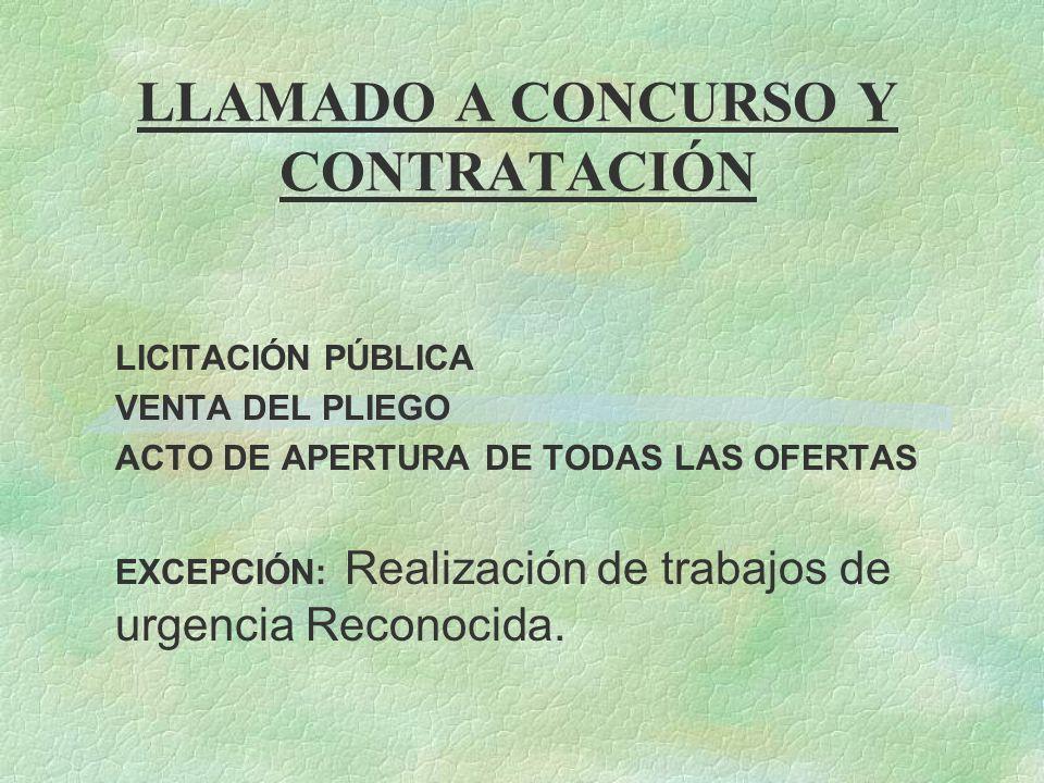 LLAMADO A CONCURSO Y CONTRATACIÓN