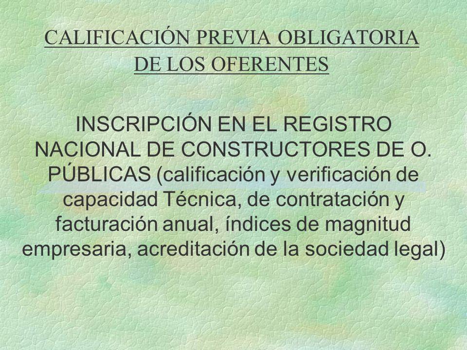 CALIFICACIÓN PREVIA OBLIGATORIA DE LOS OFERENTES