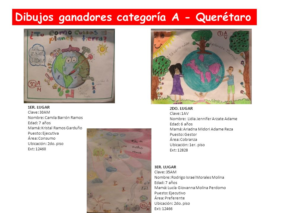 Dibujos ganadores categoría A - Querétaro