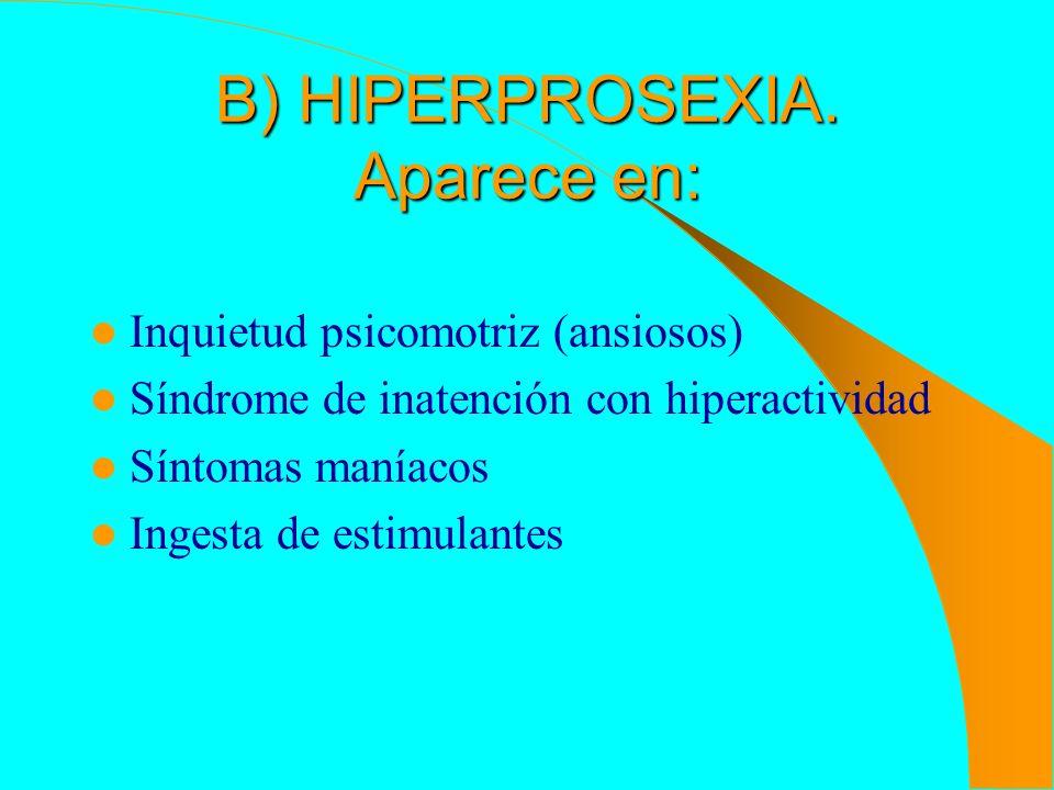 B) HIPERPROSEXIA. Aparece en: