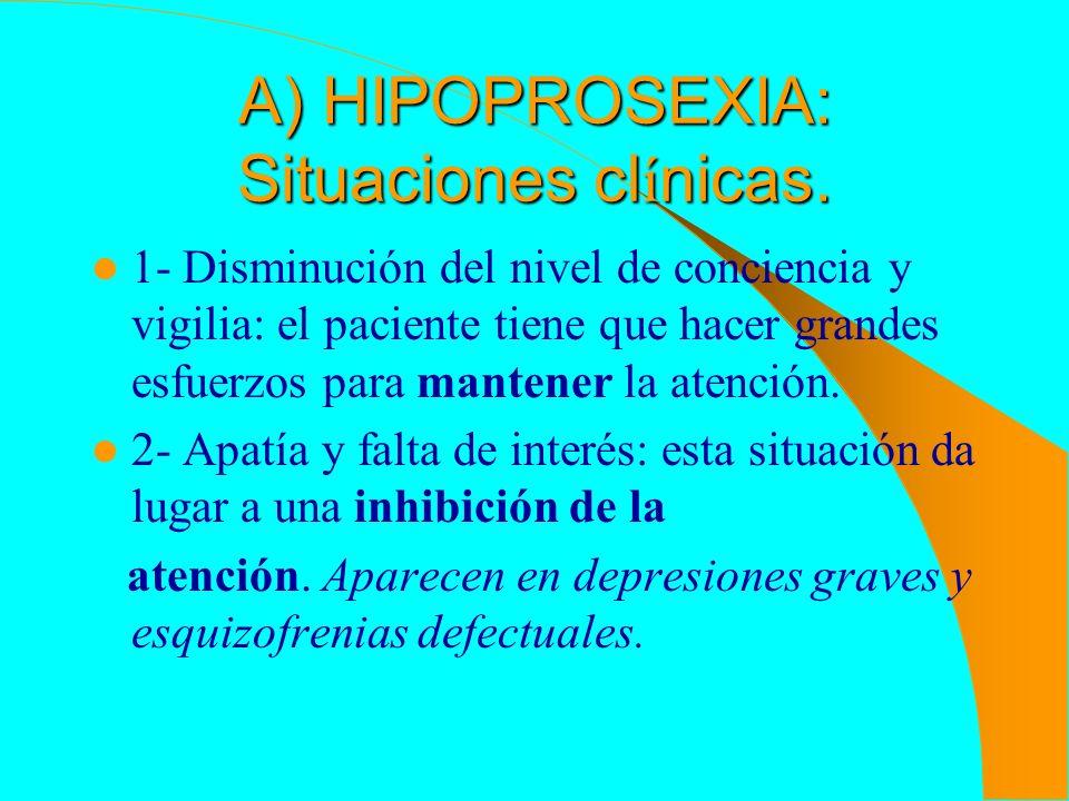 A) HIPOPROSEXIA: Situaciones clínicas.