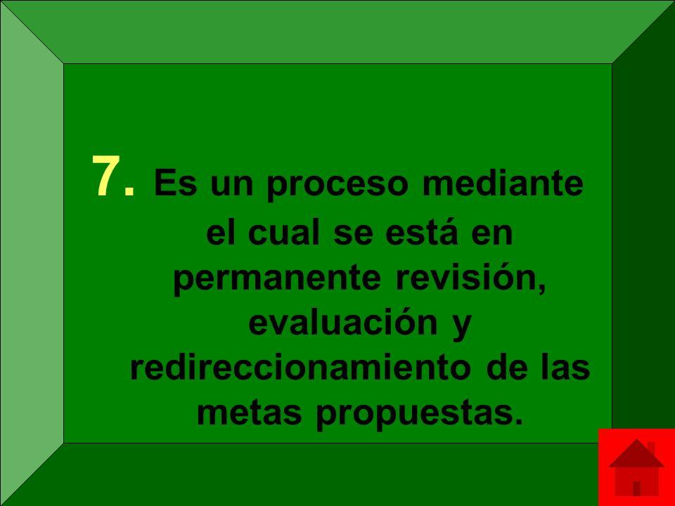 Es un proceso mediante el cual se está en permanente revisión, evaluación y redireccionamiento de las metas propuestas.