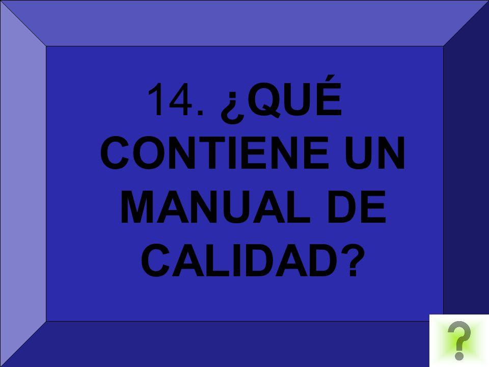 14. ¿QUÉ CONTIENE UN MANUAL DE CALIDAD