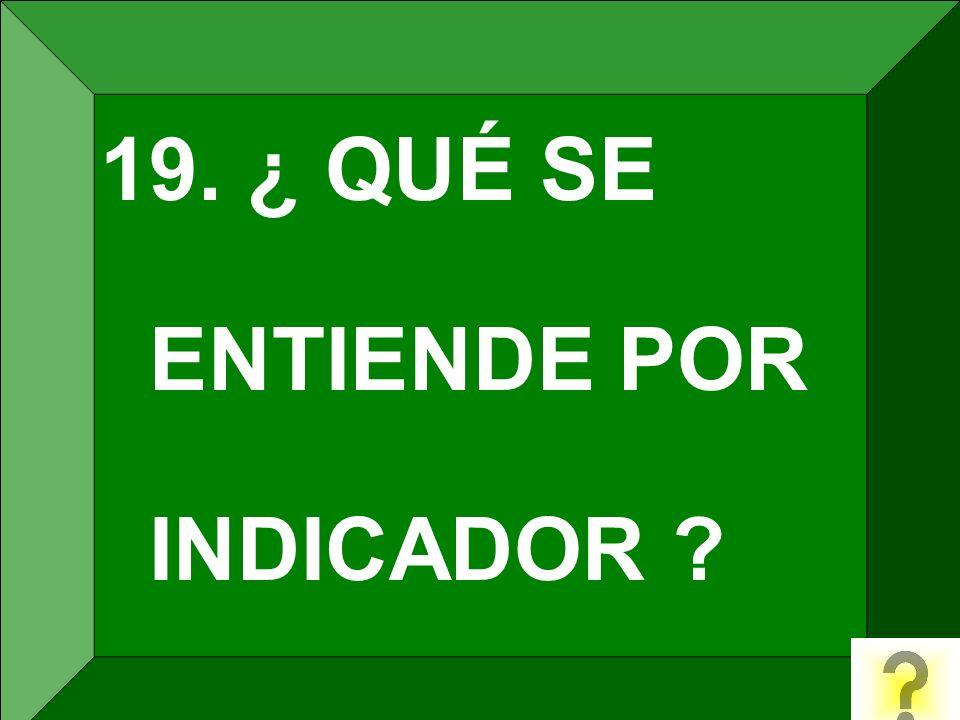 19. ¿ QUÉ SE ENTIENDE POR INDICADOR