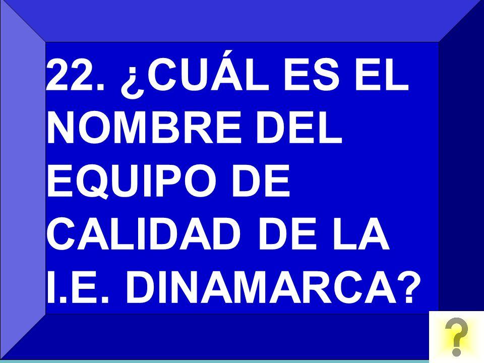 22. ¿CUÁL ES EL NOMBRE DEL EQUIPO DE CALIDAD DE LA I.E. DINAMARCA