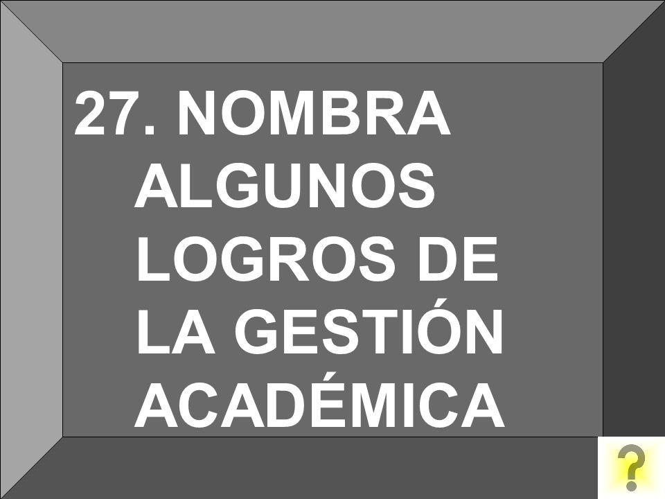 27. NOMBRA ALGUNOS LOGROS DE LA GESTIÓN ACADÉMICA