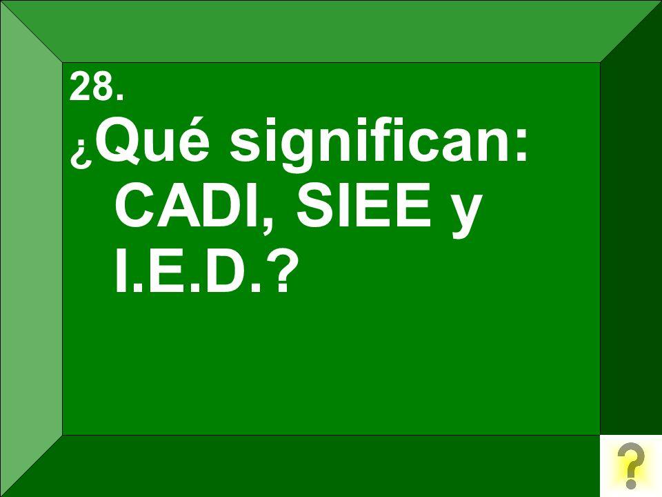 28. ¿Qué significan: CADI, SIEE y I.E.D.