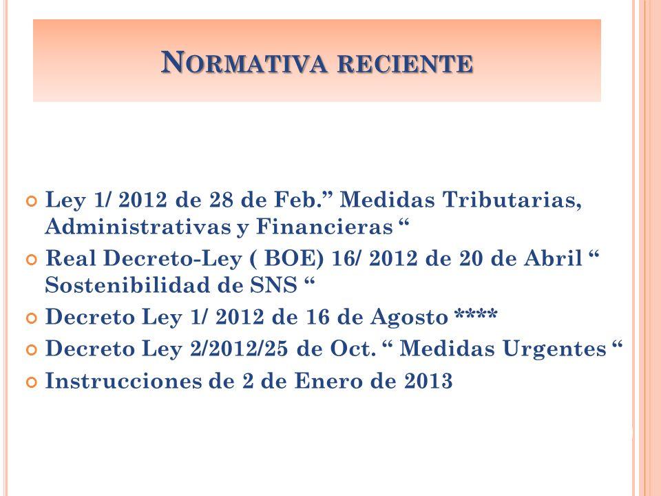 Normativa reciente Ley 1/ 2012 de 28 de Feb. Medidas Tributarias, Administrativas y Financieras