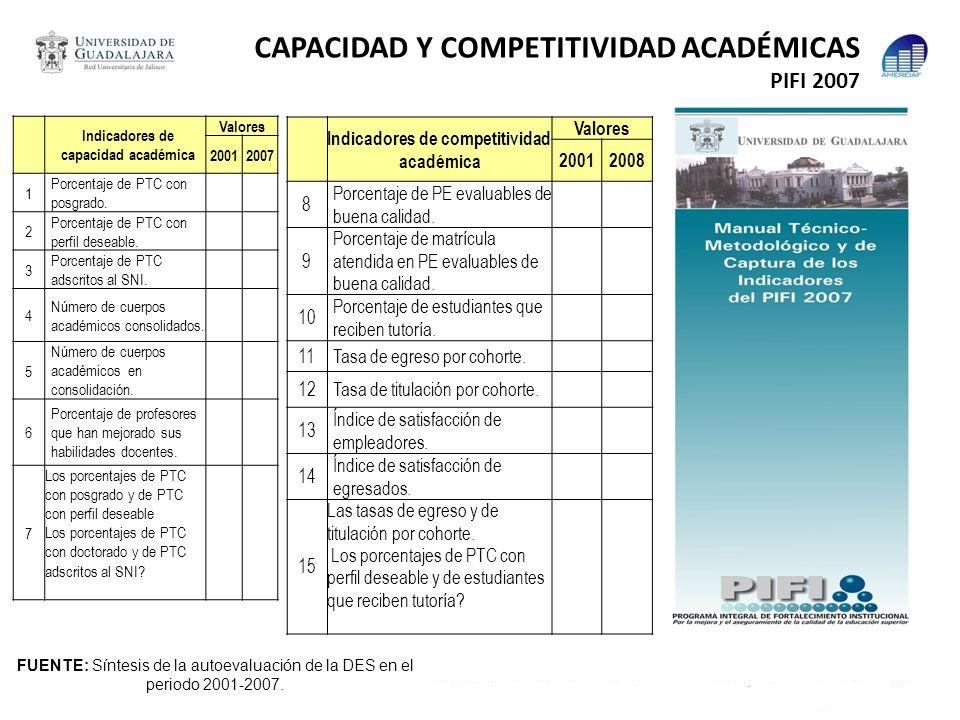 CAPACIDAD Y COMPETITIVIDAD ACADÉMICAS PIFI 2007