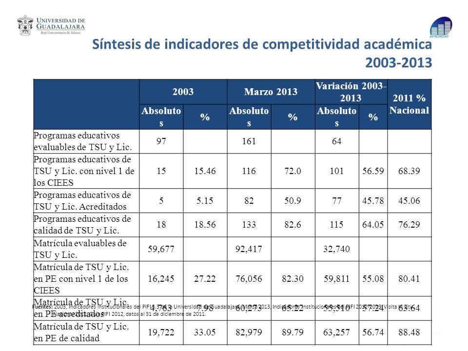 Síntesis de indicadores de competitividad académica 2003-2013