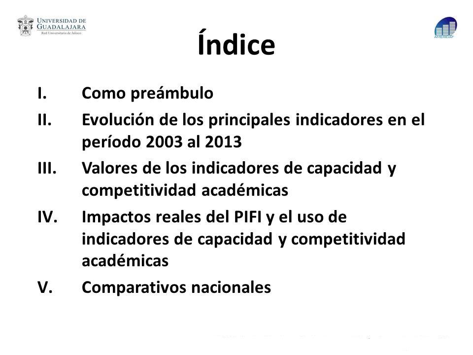 Índice Como preámbulo. Evolución de los principales indicadores en el período 2003 al 2013.