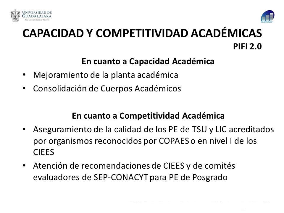 CAPACIDAD Y COMPETITIVIDAD ACADÉMICAS PIFI 2.0
