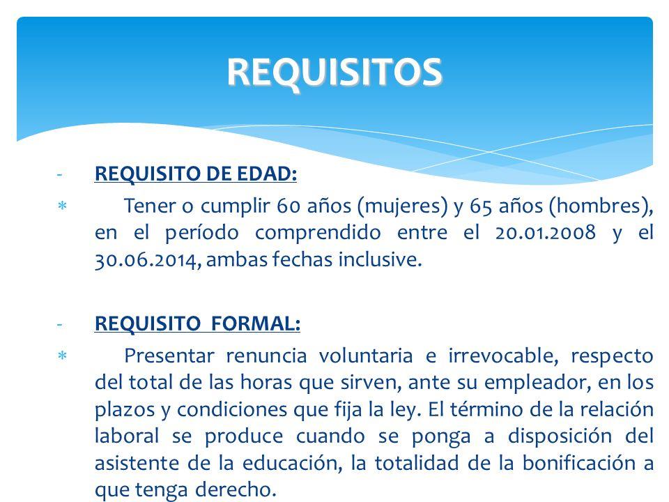 REQUISITOS REQUISITO DE EDAD: