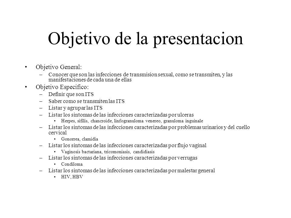 Objetivo de la presentacion