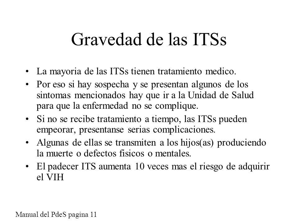 Gravedad de las ITSs La mayoria de las ITSs tienen tratamiento medico.