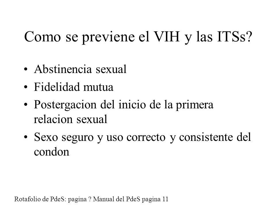 Como se previene el VIH y las ITSs