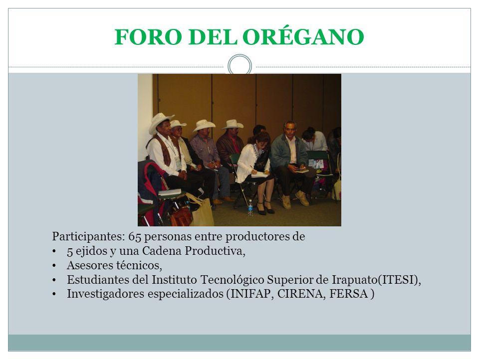FORO DEL ORÉGANO Participantes: 65 personas entre productores de