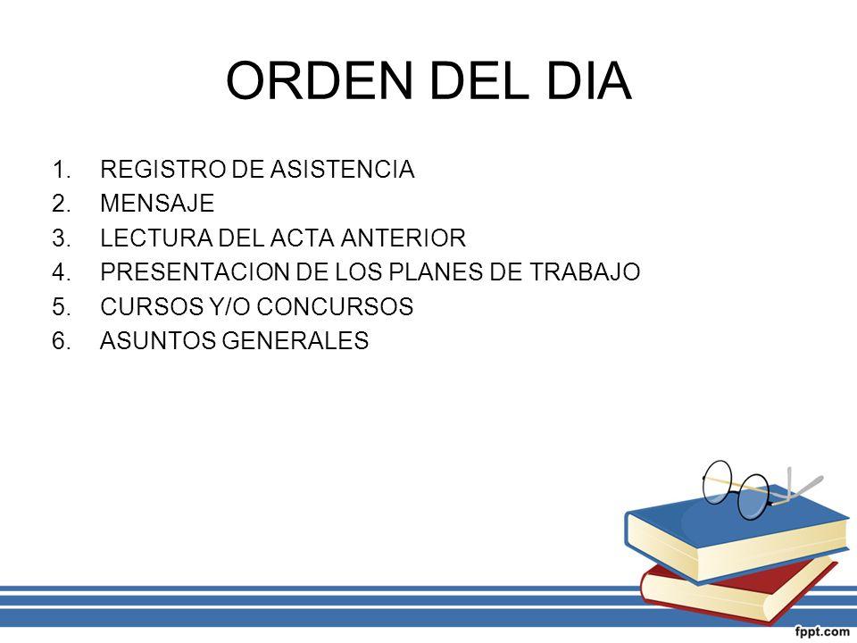 ORDEN DEL DIA REGISTRO DE ASISTENCIA MENSAJE LECTURA DEL ACTA ANTERIOR