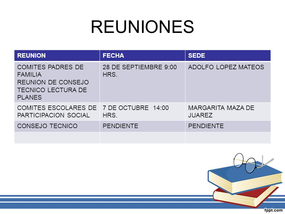 REUNIONES REUNION FECHA SEDE COMITES PADRES DE FAMILIA