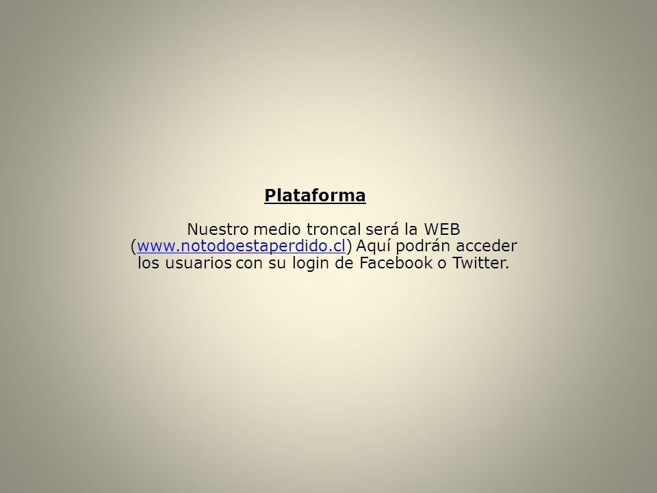 Plataforma Nuestro medio troncal será la WEB (www.notodoestaperdido.cl) Aquí podrán acceder los usuarios con su login de Facebook o Twitter.