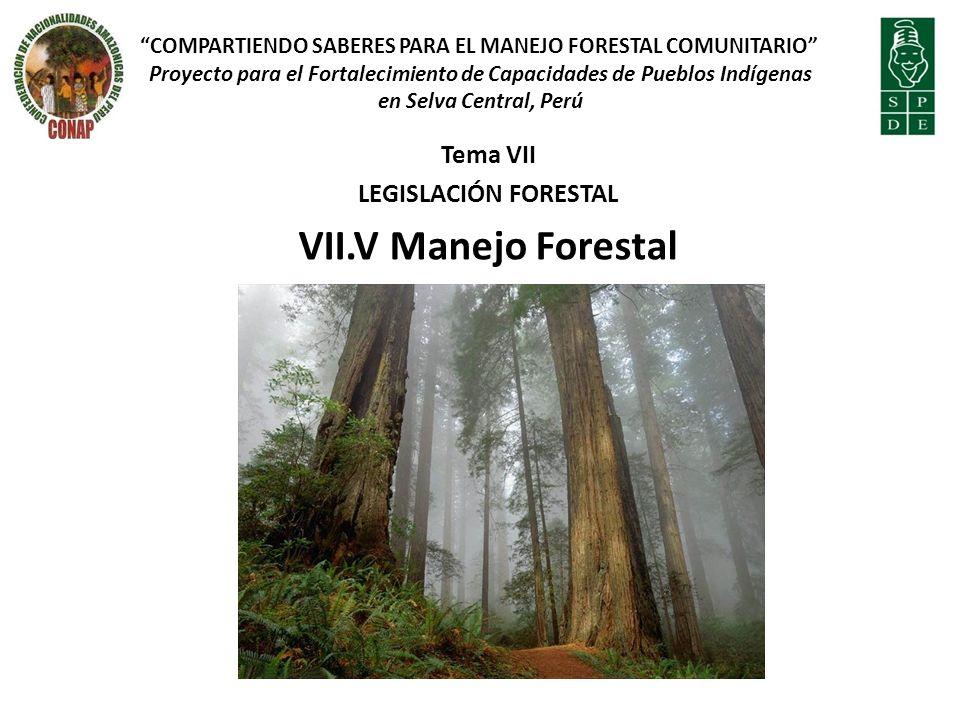VII.V Manejo Forestal Tema VII LEGISLACIÓN FORESTAL