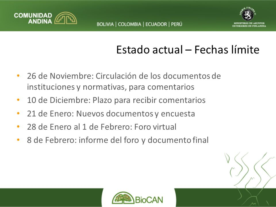 Estado actual – Fechas límite