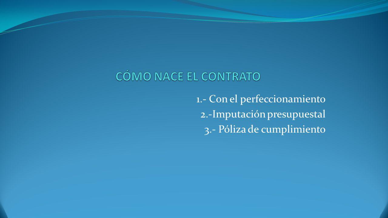 CÓMO NACE EL CONTRATO 1.- Con el perfeccionamiento