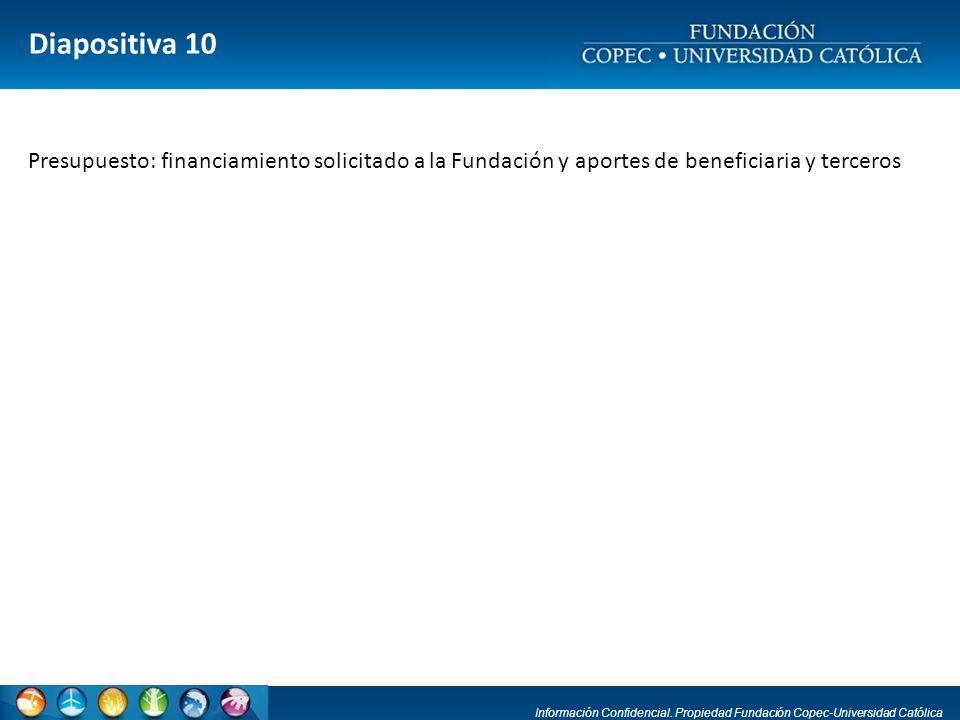 Diapositiva 10 Presupuesto: financiamiento solicitado a la Fundación y aportes de beneficiaria y terceros.