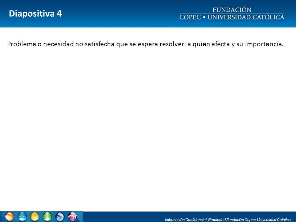 Diapositiva 4 Problema o necesidad no satisfecha que se espera resolver: a quien afecta y su importancia.
