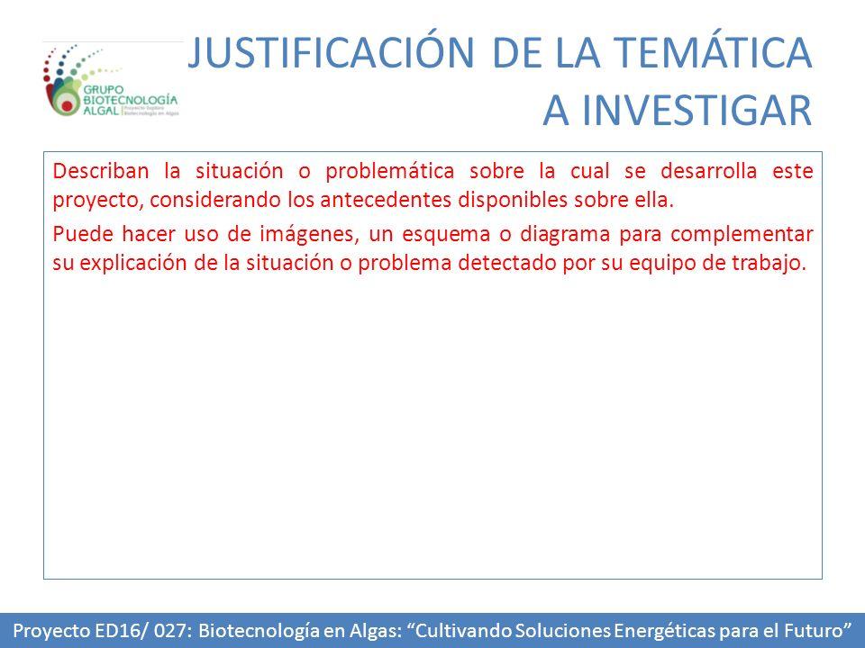 JUSTIFICACIÓN DE LA TEMÁTICA A INVESTIGAR