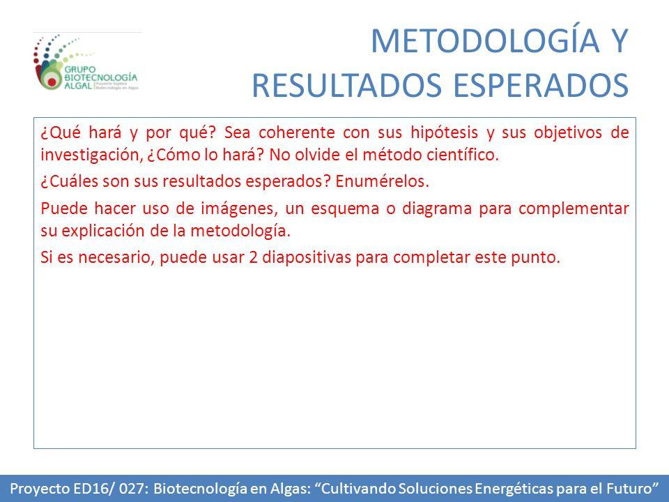 METODOLOGÍA Y RESULTADOS ESPERADOS
