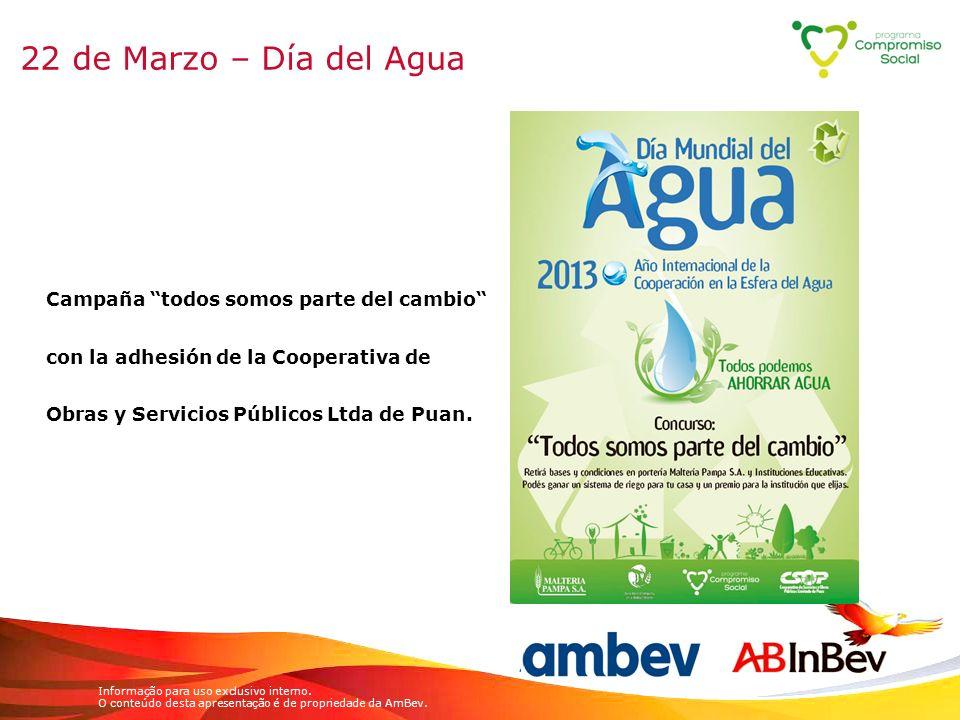 22 de Marzo – Día del Agua Campaña todos somos parte del cambio con la adhesión de la Cooperativa de Obras y Servicios Públicos Ltda de Puan.