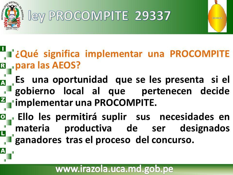 ley PROCOMPITE 29337 ¿Qué significa implementar una PROCOMPITE para las AEOS