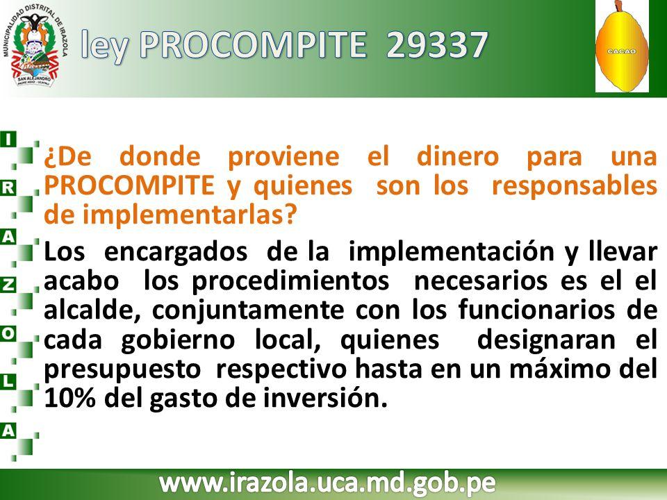 ley PROCOMPITE 29337 ¿De donde proviene el dinero para una PROCOMPITE y quienes son los responsables de implementarlas