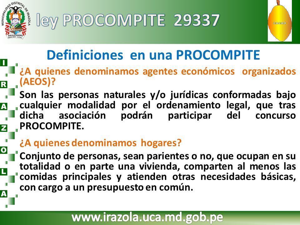 Definiciones en una PROCOMPITE