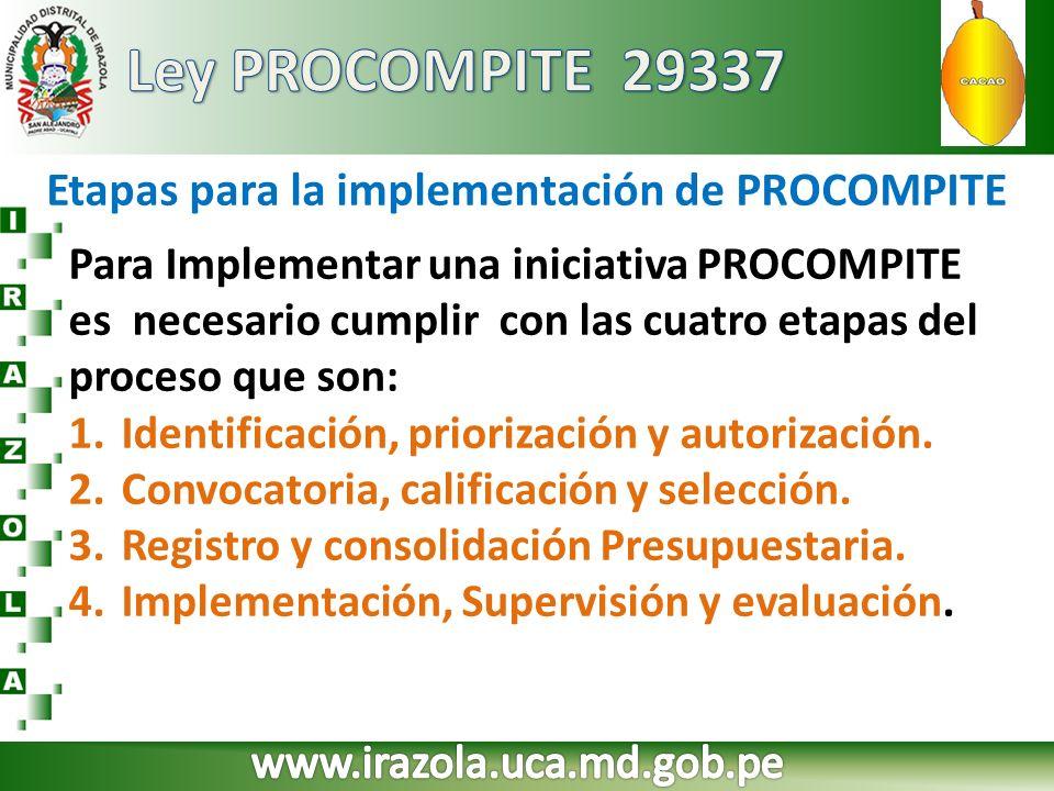 Etapas para la implementación de PROCOMPITE